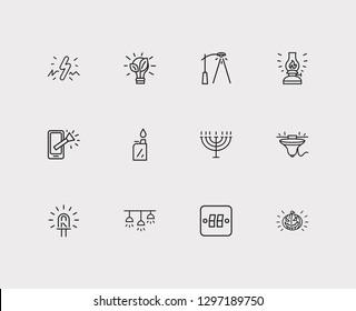Light icons set. Street lamp and light icons with kerosene lamp, menorah and light switcher. Set of traditional for web app logo UI design.