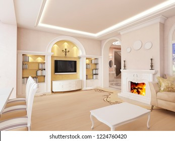 Light living room in light classical style with art deco elements, with a dining table by the window. 3D rendering