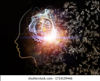 Light of machine logic series. Background of human face outline and digital elements on the subject of mind, technology and artificial intelligence