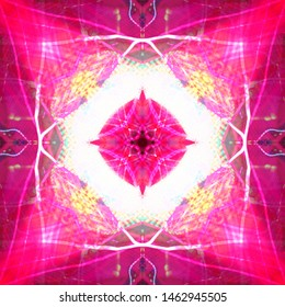 Light mandala. Symmetry and reflection. Colorful pattern. Neon glow. Festive decoration. Abstract blurred background.