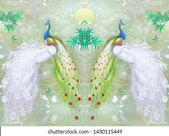 Light marble background, mirrored white and colorful peacocks, green bamboo and butterflies