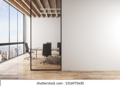 Light meeting room interior with copy space on concrete wall, furniture, wooden floor and panoramic city with sky view. 3D Rendering