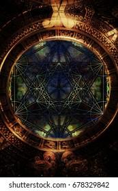 Light merkaba and zodiac in cosmic space. Sacred geometry.