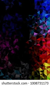Light Multicolor, Rainbow vertical shining triangular background. Triangular geometric sample with gradient.  The polygonal design can be used for your web site.