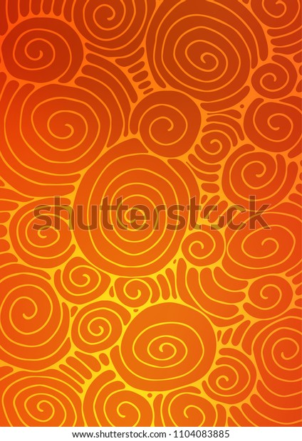 Light Orange abstract doodle pattern. A vague abstract illustration with doodles in Indian style. Hand painted design for web, leaflet, textile.