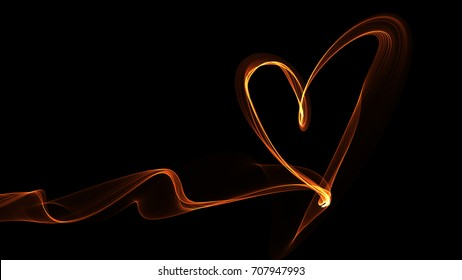 light painting heart on black background.