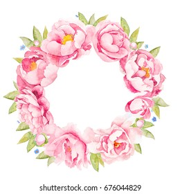light pink  peony rose circle pattern with blue anemone,bindweed and forget-me-not flowers and green leaves