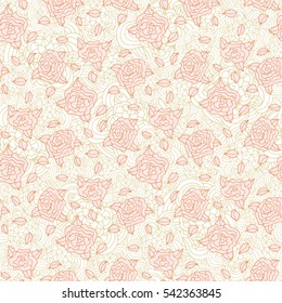 Light pink stylized doodle roses seamless pattern with light-brown ornanent backdrop. For pillow fabric textile design