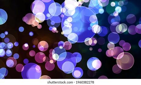 light purple blue tone big bubble divine dimension bokeh blur absract dark isolated background