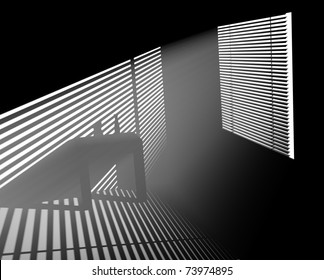 light rays pass through the blinds in a dark room