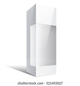 Light Realistic Package Cardboard Box with a transparent plastic window.  illustration