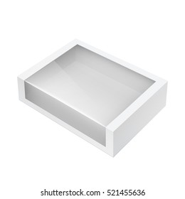 Light Realistic Package Cardboard Box with a transparent plastic window. Vector illustration