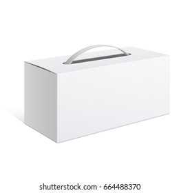 Light Realistic Package Cardboard Box with a handle. 3D illustration