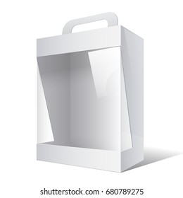 Light Realistic Package Cardboard Box with a handle and a transparent plastic window.  3D illustration