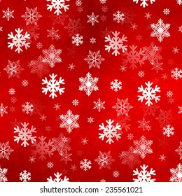 Light red winter Christmas snowflakes with a seamless pattern as background image.