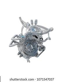 Light robotic heart, 3d rendering