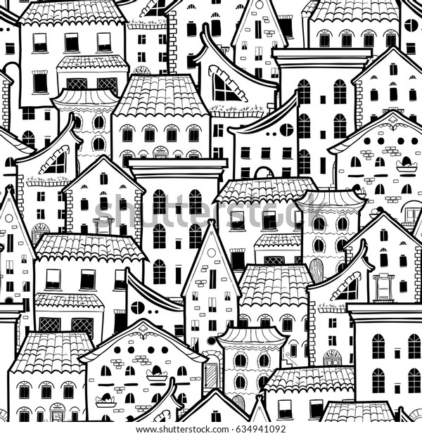 Light seamless pattern with houses, doodle house background, monochrome house wallpaper, good for design fabric, wrapping paper, postcards, raster copy of vector file