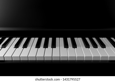 Light and shadow of piano in the darkness. 3D rendering.