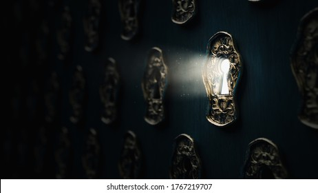 Light shining through a golden keyhole, dramatic lit image ( 3D Rendering, illustration )