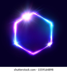 Light sign on dark blue background with space for text. Color hexagon glowing electric frame with shining star. Retro bright nightlife advertising bar or cinema signboard. Business illustration
