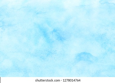 Light sky blue shades watercolor background. Aquarelle paint paper textured canvas for design, card template. Turquoise gradient color handmade illustration