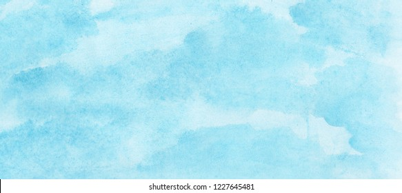 Light sky blue watercolor background. Aquarelle paint paper textured canvas element for text design, greeting card, template. Turquoise color handmade illustration