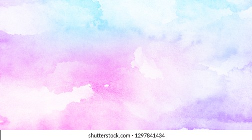 Light sky pink, purple shades and blue watercolor paper textured illustration for grunge design, vintage card, retro templates. Smooth pastel colors wet effect hand drawn canvas aquarelle background.