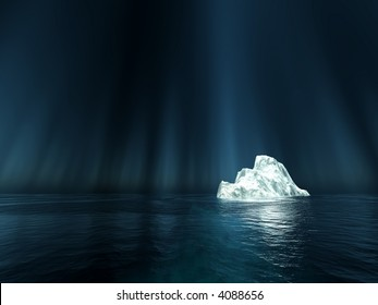 light spot on one single iceberg in the nightly sea