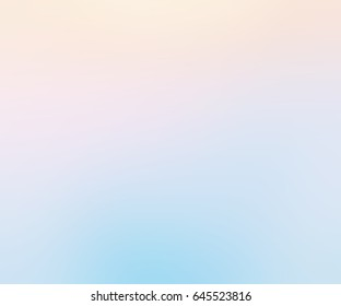 Light spring haze. Delicate blue, pink and yellow gradient. Sky glow background. Spring clean morning air. Festive pale opal shade - blurred background