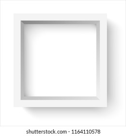 light square frame with shadow on white background illustration