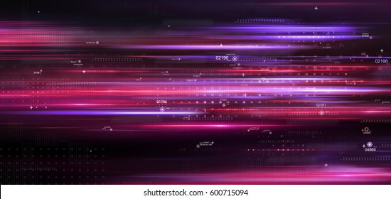 Light and stripes moving fast. Connections, lines, squares with random scale and opacity. Technology and connection concept. Abstract digital background with high detailed elements. 3d rendering