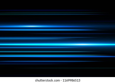 Light and stripes moving fast over dark background.