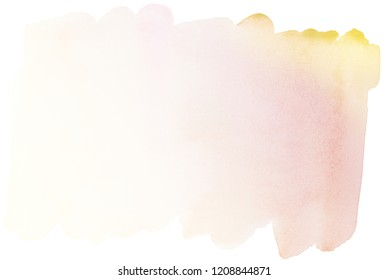 light transparent watercolor stain in warm delicate shades for a postcard
