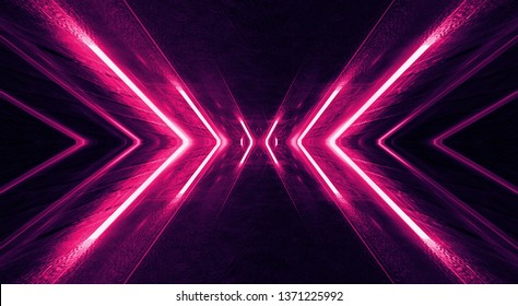 Light tunnel, dark long corridor room with neon lamps. Abstract red neon, background with smoke and neon light. Concrete floor, symmetrical reflection and mirroring. 3D illustration.
