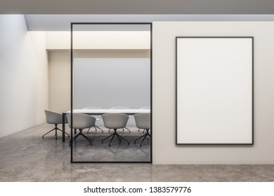 Light white meeting room interior with copy space. Mockup, 3D Rendering