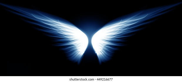 Light wings on a dark background