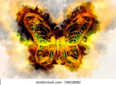 Light yellow butterfly and color structure bckground.