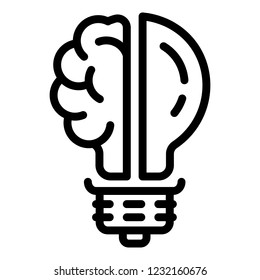 Lightbulb brain half icon. Outline illustration of lightbulb brain half icon for web design isolated on white background