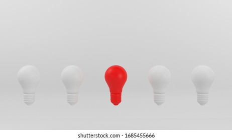 Lightbulb on a white pastel background. minimal creative idea concept. 3D render illustration.