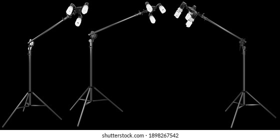 Lightbulbs in lamp holder on boom with stand isolated on black background with clipping path. 3D rendering and illustration of professional light equipment for fashion photoshoot
