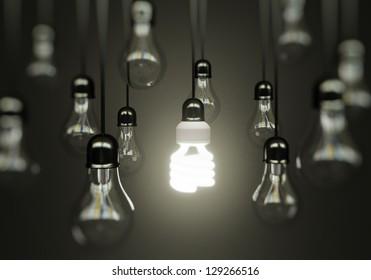 lightbulbs on gray background, idea concept