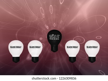 """Lightbulbs with the text """"Black Friday"""" and a black lightbulb with the text """"Sale"""". 3d rendering"""