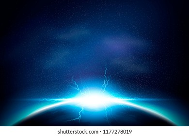 Lightening and shining special effect on cosmos background