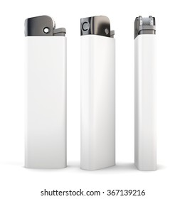 Lighter in different angles isolated on a white background. 3d render image.
