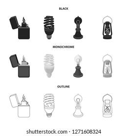 Lighter, economical light bulb, edison lamp, kerosene lamp.Light source set collection icons in black,monochrome,outline style bitmap symbol stock illustration web.
