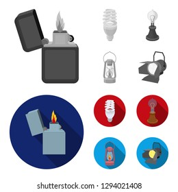 Lighter, economical light bulb, edison lamp, kerosene lamp.Light source set collection icons in monochrome,flat style bitmap symbol stock illustration web.