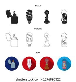 Lighter, economical light bulb, edison lamp, kerosene lamp.Light source set collection icons in cartoon style bitmap symbol stock illustration web.