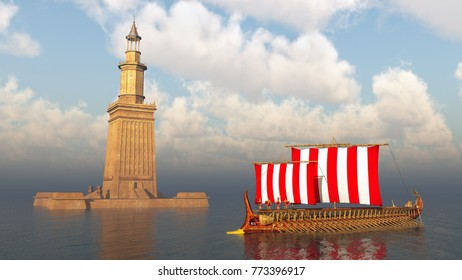 Lighthouse of Alexandria and ancient Greek warship Computer generated 3D illustration