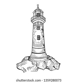 Lighthouse engraving raster illustration. Scratch board style imitation. Hand drawn image.
