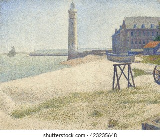 The Lighthouse at Honfleur, by Georges Seurat, 1886, French Post-Impressionist painting, oil on canvas. This is painted in the technique Seurat called 'divisionism' or 'neoimpressionism.' He juxtapos